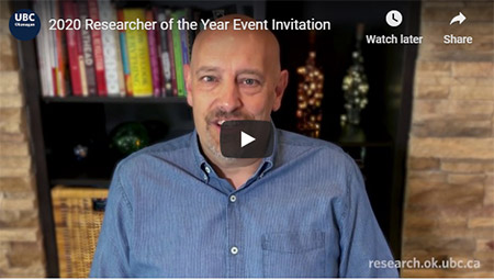 Video screenshot of the Researcher of the Year annoucement from Phil Barker