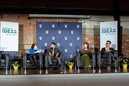 The Honourable Janet Austin, OBC Lieutenant Governor of British Columbia, Romil Jane, Karen Ragoonaden and Aaron Derrickson in discussion at the inaugural Festival of Ideas event