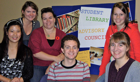 Members of the Student Library Advisory Council enjoy the new study spaces after the most recent renovations. Left to right: Cherry Wang, Sarah Ulicny, Tanya Chartrand, Jesse Bryden, Kyla de Jong, Katrina Labun.