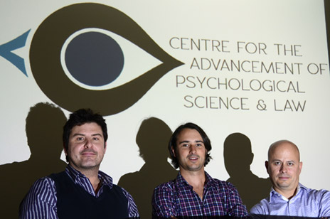 Stephen Porter, left, Mike Woodworth and Zach Walsh are the driving force behind CAPSL – the Centre for Advancement of Psychological Science and Law. The world-class centre will officially open Feb. 3.
