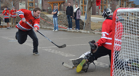 Third year Human Kinetics student Joel Selinger gets stopped on his shoot-out attempt at the UBC Food Exchange Ball Hockey Tournament recently.
