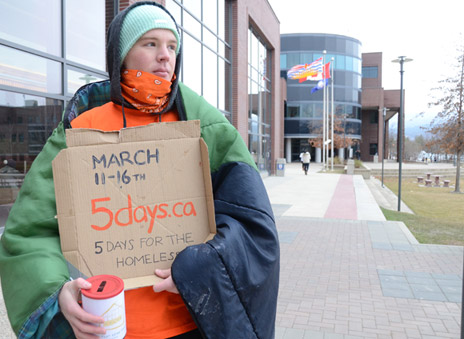 Student Austin Newton was 'homeless' until from March 11 to 16 as part of an on-campus campaign to raise funds and awareness for the homeless.