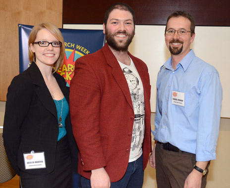 Research Rodeo graduate student winners, from left: Jocelyn Madeira; David Kadish; Gabriel Newman