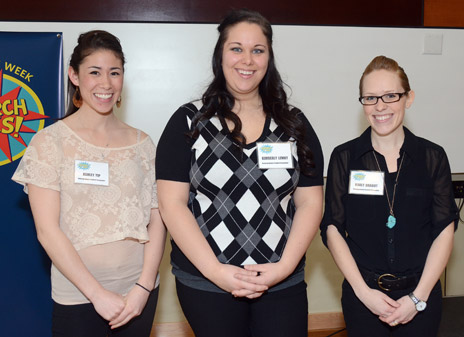 Research Rodeo undergraduate student winners, from left: Ashley Yip; Kimberly Lemky; Karly Drabot