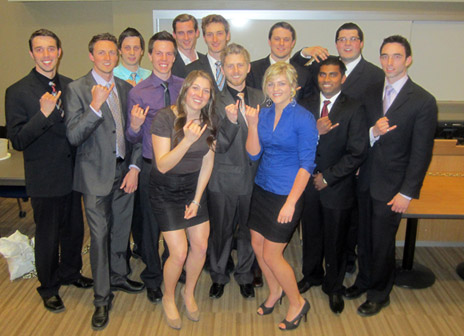 Engineering students proudly show their rings. For the first time, the iron ring ceremony was held at the Okanagan campus under their own camp.