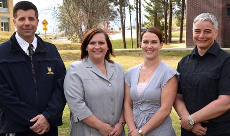 Security Coordinator Matt Leibel with Karey Joly, Diana Charles and Darlene Sunderland – new additions to the Security Communications Coordinators team.