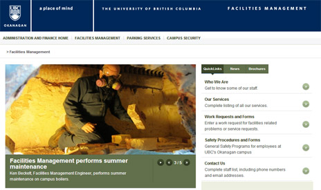 Facilities Management's new homepage
