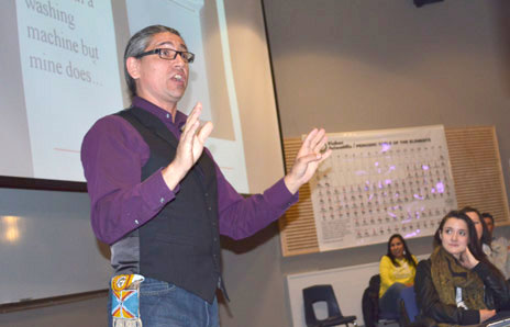 Keynote speaker Robert Pictou uses his personal journey as a basis to engage high school students and to motivate them to think about their future.