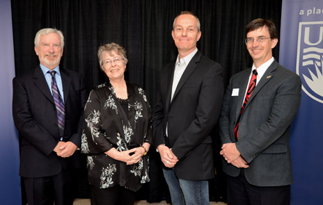 Deputy Vice Chancellor and Principal Doug Owram, Associate Professor of Anthropology Naomi McPherson, Associate Professor of Psychology Paul G. Davies and Provost Wesley Pue are seen at the awards for Teaching Excellence and Innovation ceremony.