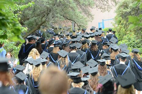 Grads line up for Convocation ceremonies at UBC's Okanagan campus