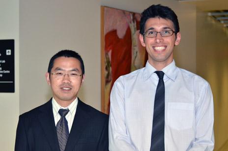 Yeyuan (Roger) Xiao and Ali Ahmadi, Engineering's first PhD graduates from UBC's Okanagan campus