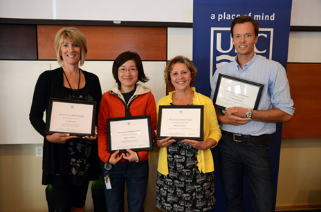 UBC staff members Lea Braybrook, Hiroko Nakahara, Suzanne Nazareno and Alexander Lane were recognized for their exceptional contributions at the 2012 Staff Awards of Excellence