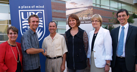 Prof. John Janmaat is congratulated on his appointment as Leading Edge Endowment Fund (LEEF) BC Regional Innovation Chair in Water Resources and Ecosystem Sustainability by BC Agriculture Minister Norm Letnick. Participants in a ceremony at UBC announcing the endowment are, from left: Cynthia Mathieson, Dean, Irving K. Barber School of Arts and Sciences; John Janmaat; Norm Letnick; Okanagan Water Basin Board Executive Director Anna Warwick Sears; UBC Vice Provost Research and Dean of Graduate Studies Miriam Grant; UBC Provost Wesley Pue.