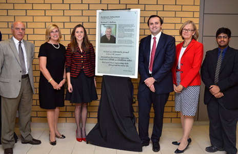 A plaque dedicating the Richard S. Hallisey atrium was unveiled Friday. Pictured are, from left: Spiro Yannacopoulos, director of the School of Engineering and acting dean of the Faculty of Management, Pamela Hallisey, wife of the late Richard Hallisey, their children Lisa Orr and Richard Hallisey, UBC Principal Deborah Buszard, and UBC student Suraj Raveendran.