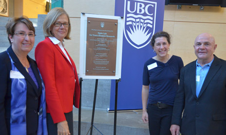 Dedication of the new Fipke Laboratory for Trace Element Research at UBC took place this week. Unveiling the plaque naming the new facility were, from left, Cynthia Mathieson, dean of the Irving K. Barber School of Arts and Sciences, Deborah Buszard, principal and deputy vice chancellor, Chantal Venturi, graduate student, and Charles E. Fipke.