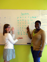 Robyn Giffen and Vida Yakong with the new Nabit alphabet