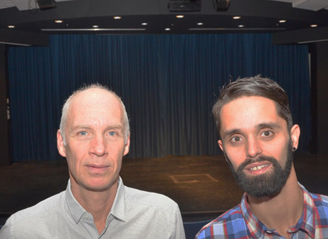 Neil Cadger, head of Creative Studies, and student Kevin Jesuino in University Theatre, UBC's new performing arts space.