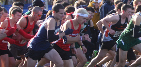 Colin Wallace (foreground in blue) finishes first for the Heat and 23rd overall, at the national championships this past Saturday. (Photo from the CCAA files)