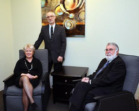 Associate Professor of Nursing Carole Robinson, Head of Psychology Department Jan Cioe and Director of School of Social Work Edward Taylor in the new Interprofessional Clinic at UBC's Okanagan campus.