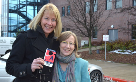 Associate Professor of Nursing Barb Pesut (left) has won the grand prize offered in the 2012 Okanagan Campus United Way Campaign: use of a Lot A parking stall (stall number 1) for next term. Campaign Chair Sarah Stang presented the coveted parking pass last Wednesday afternoon.