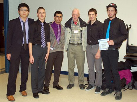 UBC engineering students Colin Yang, Carter Merwin, Navdeep Brar, with Ken Campbell of the Myra Canyon Trestle Restoration Society and engineering students Ryan Baines and Luc Cowan.