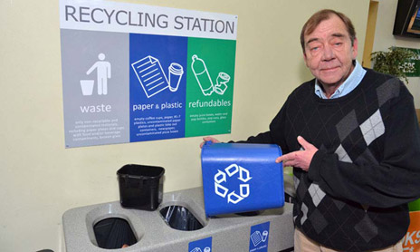 Al King, Manager of Maintenance and Grounds with Facilities Management at one of many recycling stations