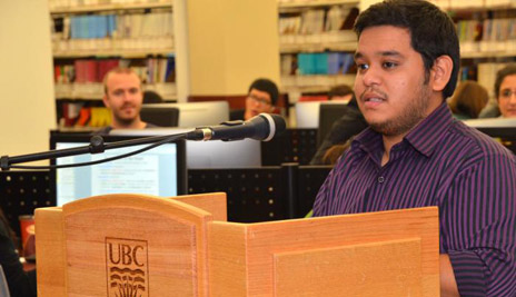 Student Abdulrahman Alnaar spoke on behalf of students at the recent Library renovation opening ceremony.