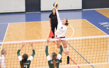 Alex Basso put the finish touches on what has been an incredible career at UBC Okanagan Saturday night in Kelowna. Her team will head into the post-season after defeating the Brandon Bobcats in five sets. (Credit Dale Abbey)