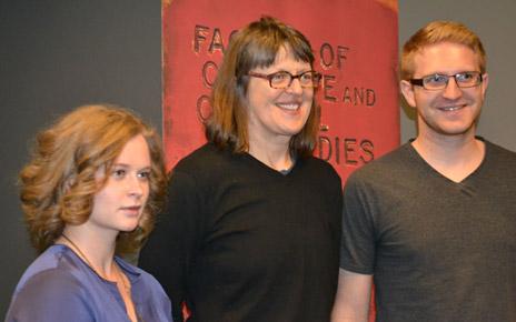 Okanagan Short Story contest third-place winner Jada Hignett, of Vernon, left, contest judge Erín Mouré, centre, and first-place winner Joe Dermo of Kelowna, right.
