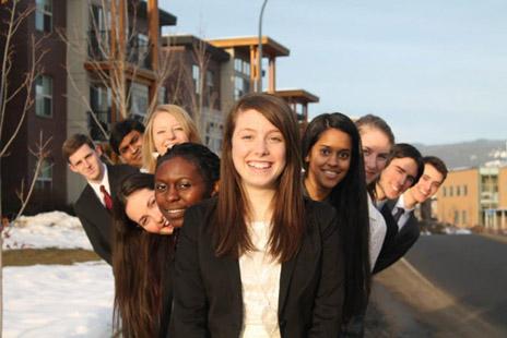 UBC's Okanagan delegation to the Harvard National Model United Nations 2013 from left to right: Liam Fitzpatrick, Dixon Suthekksan, Emma Houiellebecq, Lina Gomez, Alliance Babunga, Alexa Geddes, Sujitha Shivajothi, Josephine Schrott, Drayson Netzel, and Tim Krupa. Photo by Sara Wahedi