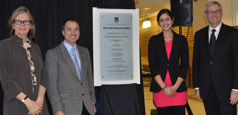 From left, Deborah Buszard, UBC deputy vice-chancellor and principal of the Okanagan campus, along with Norm Letnick, Minister of Agriculture and MLA for Kelowna-Lake Country, Master of Science student Manpreet Bahniwal, and UBC President Stephen Toope celebrate the opening of the Arts and Sciences Centre.