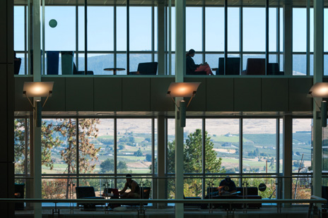 Sweeping vistas of the Okanagan Valley greet students studying on the bridges connecting classroom and office towers of the Engineering, Education and Management building at UBC's Okanagan campus.