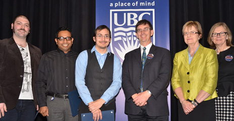 Graduate Research Rodeo winners David Kadish, Matt Husain and Robert Hermosillo are congratulated by UBC Provost Wesley Pue, Vice Provost Research Miriam Grant and Deputy Vice Chancellor and Principal Deborah Buszard.