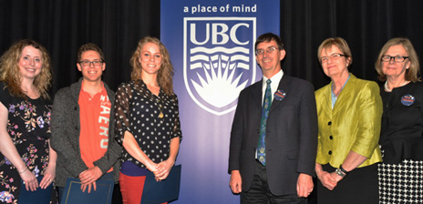 Rodeo Roundup undergraduate winners Sarah Smith, James Beaton and Carey Simpson are congratulated by UBC Provost Wesley Pue, Vice Provost Research Miriam Grant and Deputy Vice Chancellor and Principal Deborah Buszard.