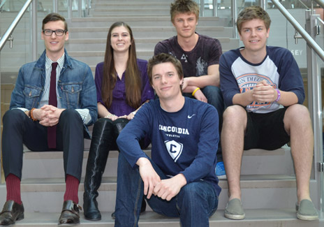 Third-year Industry Analysis students are getting set for the live-case study this week. From left are students Robert Person, Kristine Beverlein, Mathew Banfield, Austin Jones, and Quentin Klopp.