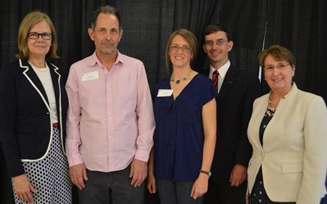 Deputy Vice-Chancellor and Principal Deborah Buszard presented Teaching Excellence Awards to John Wagner and Ilya Parkins of the Irving K. Barber School of Arts and Sciences. Also shown are Provost Wesley Pue and Cynthia Mathieson, Dean of the Irving K. Barber School of Arts and Sciences.
