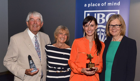 Walley and Marietta Lightbody (left) jointly received UBC's Okanagan Alumni Community Builder Award, while UBC graduate Jennifer Forsythe (second from right) received the Rising Star Award. The tributes were presented by Deborah Buszard, (right) deputy vice-chancellor and principal of UBC's Okanagan campus.