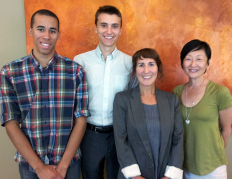 From left: students Shaman McLean and Tim Krupa meet the new UBC Ombuds officers Maria Mazzotta and Shirley Nakata.
