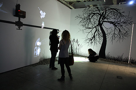 A multi-media display at UBC's Okanagan campus FINA Gallery. A series of public lectures called Emerging Visions from September through April explores digital media and the rapidly changing world of arts and culture.