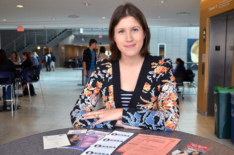Lauren Gaudet is one of several volunteers who will be handing out information pamphlets during Sexual Assault and Rape Awareness week at UBC's Okanagan campus September 30 to October 4.