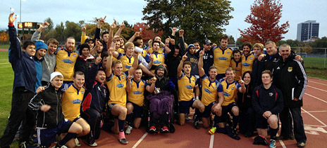 The Heat celebrate their Hindson Cup victory on Saturday at the Apple Bowl. Photo by Jesse Matthews.