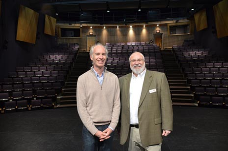 UBC's Department of Creative Studies head Neil Cadger, left, and Rotary Centre for the Arts General Manager Patrick LeBlanc, on stage following the announcement of a partnership between the university and theatre.