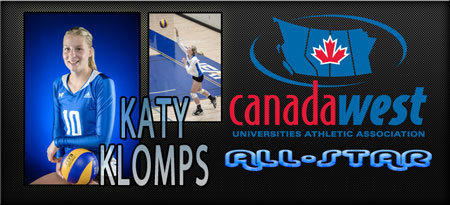 Katy Klomps lands a spot on the Canada West All-Star team in her Junior year for the UBC Okanagan Heat women's volleyball team.