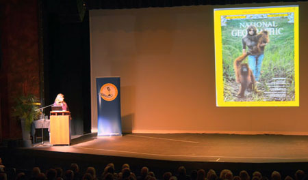 Primatologist Birutė Galdikas with a 1971 National Geographic cover where she was featured in a story about her work with orangutans in Borneo. Galdikas gave a community talk at the Kelowna Community Theatre on April 7 as part of UBC's Distinguished Speaker Series.
