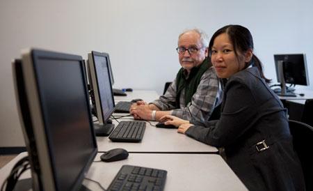 Associate Professor of Education Robert Campbell and Computer Science Instructor Bowen Hui.