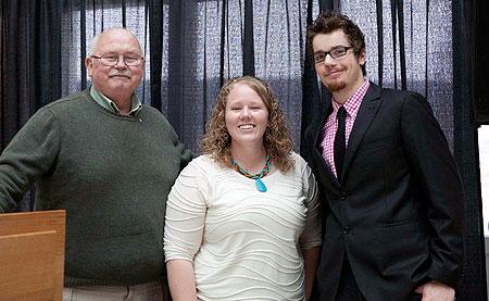 From left: Bill Dunsmore of the Okanagan Historical Society, Chelsea Sladen and Matthew Burke