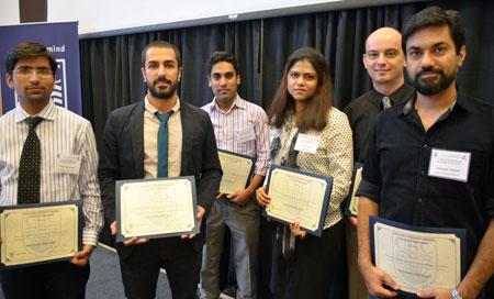 Winners at the first-ever engineering graduate student symposium are: Yash Sharma, Hamid Reza Zareie Rajani, Kader Siddiquee, Nilufar Islam, Tim Abbott, and Husnain Haider.