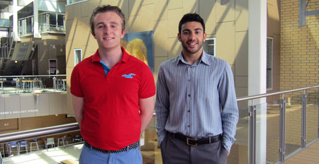 Scott McIntyre and Harish Anand will spend the next few months studying campus energy demands.