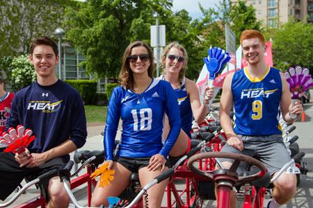 Michael Lee (Golf), Kailin Jones (Volleyball), Sarah Allison (Basketball) and Cam Friesen (Basketball) joined Ryan Watters on the Okanagan Sports Network Team. (Photo courtesy of Greystoke Photography)