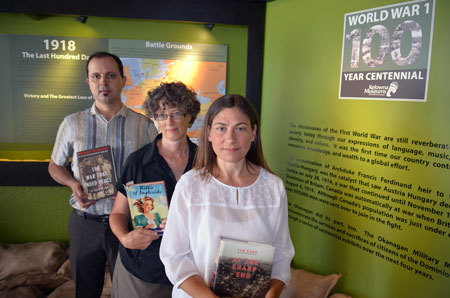 Anderson Araujo, Nancy Holmes and Lisa Grekul, seen here at the Okanagan Military Museum, will give presentations marking the 100th anniversary of the First World War at the Canadian War Museum.